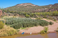 Two Kayaks on the Verde River Arizona Royalty Free Stock Photo