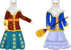 Two Kazakh Women In Traditional National Dress, Vector Illustration Stock Photos