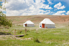 Two Kazakh yurt. A traditional dwelling in the steppes of Asia stock photography