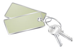Two keys with blank tag for text Royalty Free Stock Photos