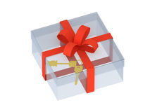 Two keys in a gift box Royalty Free Stock Image