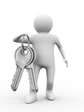 Two keys and man on white background Stock Images
