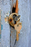 Two keys in the old door lock Stock Images