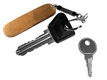 Two keys with open keychain Royalty Free Stock Photos