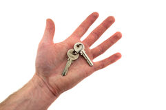 Two keys on the palm. Isolated on white background Stock Images