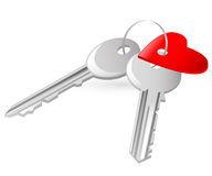 Two keys with red heart tag Royalty Free Stock Images