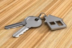 Two keys and trinket house on wooden surface. 3d illustration.  Royalty Free Stock Image