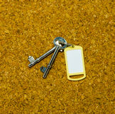 Two keys and yellow tag Royalty Free Stock Photography
