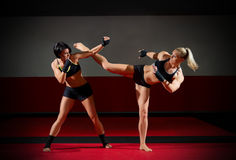 Two kickboxers women Royalty Free Stock Photography