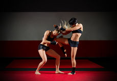 Two kickboxers women Royalty Free Stock Image