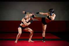 Two kickboxers women Royalty Free Stock Photos