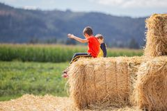 Two kid friends, sitting on a hay block stock photos