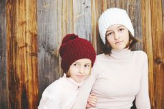 Two kid girls in hats Royalty Free Stock Photo