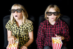 Free Two Kids At A Scary 3-D Movie Stock Photos - 10767883