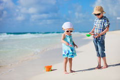 Two kids at beach Stock Photography