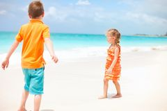 Two kids at beach Stock Photos