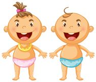 Two kids in blue and pink napkins Stock Photo