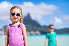 Two kids on Bora Bora Stock Photography