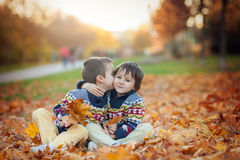 Two kids, boy brothers, playing with leaves in autumn park Royalty Free Stock Image