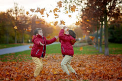 Two kids, boy brothers, playing with leaves in autumn park Stock Photo