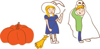 Two kids boy and girl in halloween costumes and pumpkin. Hand drawn style vector illustration