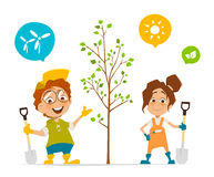 Two kids boy and girl planting a tree. Vector character illustration of two kids boy and girl planting a tree Royalty Free Stock Photos