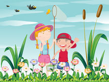 Two kids catching the butterflies. Illustration of the two kids catching the butterflies Stock Images