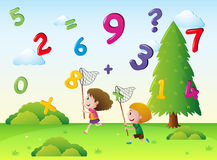 Two kids catching numbers in the sky. Illustration Royalty Free Stock Images