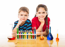 Two kids with chemical equipment Royalty Free Stock Photos