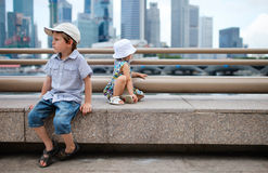 Two kids at city Royalty Free Stock Image