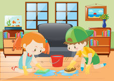 Two kids cleaning floor at home Royalty Free Stock Photos