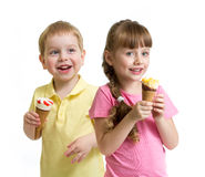 Two kids with cone ice cream isolated Royalty Free Stock Photo