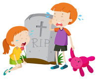 Two kids crying at gravestone Stock Photos