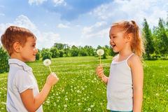 Two kids with dandelions Stock Photo
