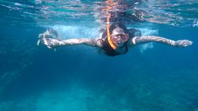 Kids dive in the Red sea with underwater mask. Two kids dive in the Red sea with underwater mask, slow motion stock footage