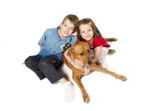 Two kids and dog isolated Stock Photo