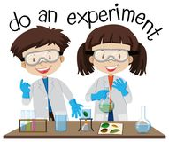 Two kids doing experiment in science lab. Illustration stock illustration