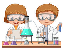 Two kids doing science experiment in class. Illustration vector illustration