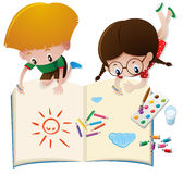 Two kids drawing on big book royalty free illustration