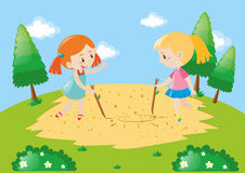 Two kids drawing on the ground. Illustration Stock Photography