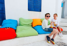Two kids drinking smoothies outdoors Stock Photography