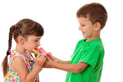 Two kids eating a watermelon Royalty Free Stock Photo