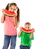 Two kids eating watermelon Royalty Free Stock Photo