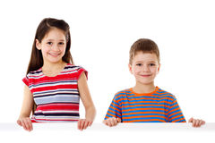 Two kids with empty blank Stock Photos