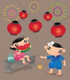 Two kids enjoy their pleasure times in traditional Japanese summer festival. Vector illustration of two Japanese kids enjoy their pleasure times in traditional Royalty Free Stock Photos