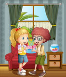 Two kids exchanging presents. Illustration of the two kids exchanging presents Stock Image