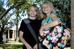 Two Kids on First Day of School Royalty Free Stock Image