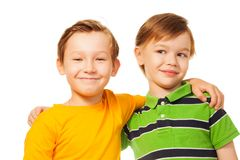 Two kids friends standing together Royalty Free Stock Photo