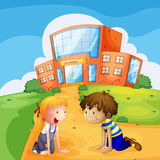 Two kids in front of the school. Illustration of two kids in front of the school Royalty Free Stock Images