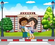 Two kids in front of the school. Illustration royalty free illustration